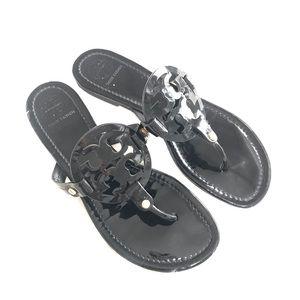{Tory Burch} Black Patent Miller Sandals
